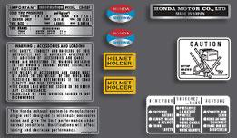 Honda 1971-73 CB500F warning and service label set