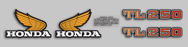 1975 Honda TL250 K0 decal set
